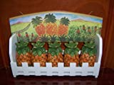 Hand Painted Fine Ceramic Wooden Spice Rack Organizer Pineapple Design with 5 Pieces Ceramic Spice Bottles