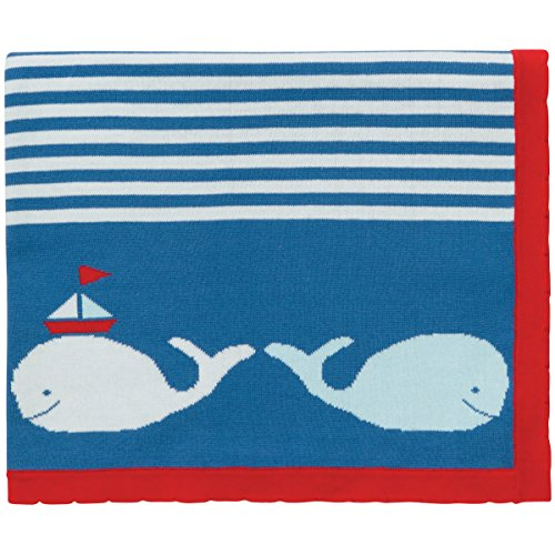 "Elegant Baby 100% Cotton Tightly Knit Blanket, Whale Motif, 30"" X 40"""
