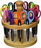 School Smart Paper Edger Scissors with Oak Stand - Set of 12 - Assorted Colors