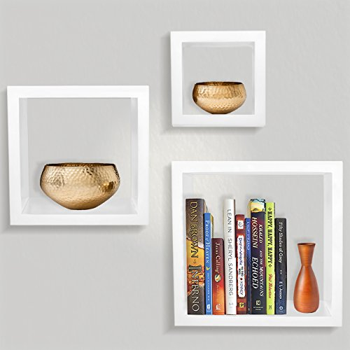 Sorbus Floating Shelves- Square Shaped Hanging Wall Shelves for Decoration - Features Shadow Square Frame Design for Photo Frames, Collectibles, Decorative items, and Much More (Set of 3, White)