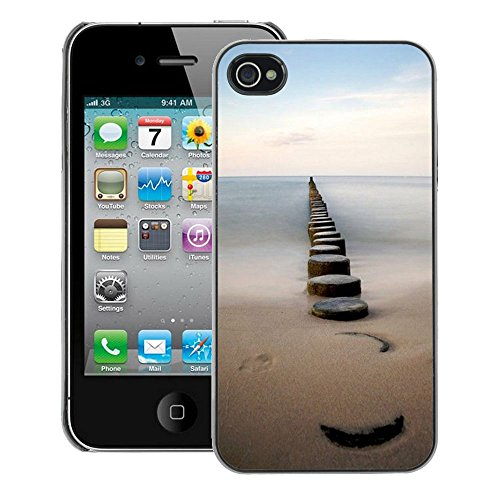 A-type Colorful Printed Hard Protective Back Case Cover Shell Skin for iPhone 4 / 4S (Sea Pier Dock Sand Ocean Horizon)