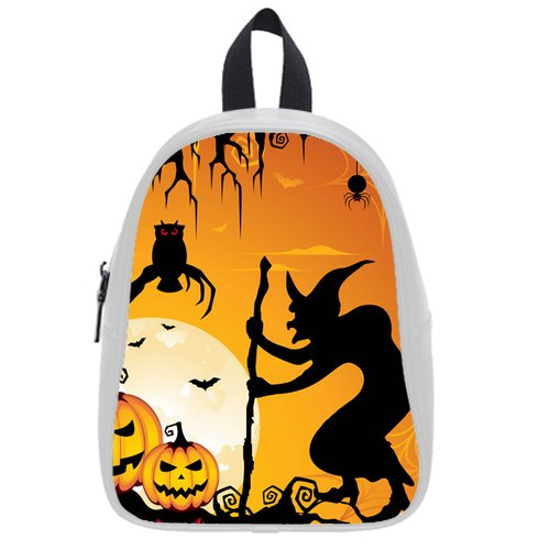 Shoppemarte Halloweens Pumpkin Scary Old Man Owl Bat Spider Eyes Backpack School Bag Satchel Size M 14.47 Inch