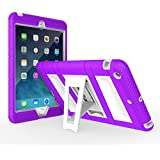 MoKo Silicone + White Hard Polycarbonate Protector with Foldable Stand Cover Case for Mini 3, Mini 2 and Mini (2012 1st Gen), PURPLE (Will not fit iPad Mini 4)