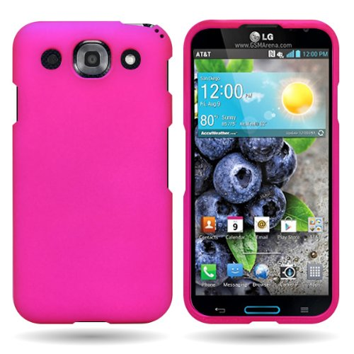 Coveron® Hard Cover Case With Rubberized For Lg Optimus G Pro With Pry- Triangle Case Removal Tool - Rose Pink