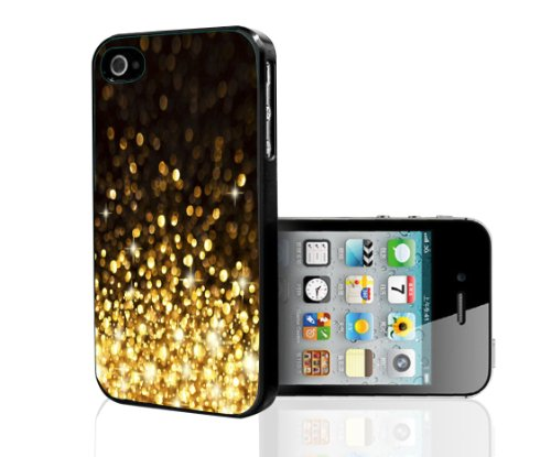 Black and Gold Glitter Hard Snap on Phone Case Hard Snap on Phone Case (iPhone 4/4s)