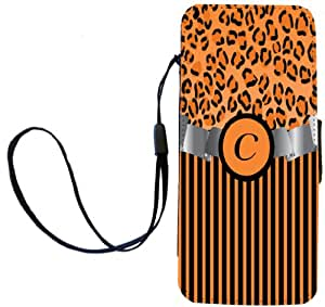 """Rikki Knight Letter """"C"""" Initial Orange Leopard Print and Stripes Monogrammed Flip Wallet iPhoneCase with Magnetic Flap for iPhone 5/5s - Orange"""