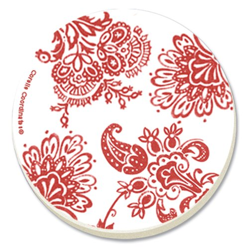 Corelle Red Paisley Absorbent Stone Coaster, 4-Pack (Red Coasters compare prices)
