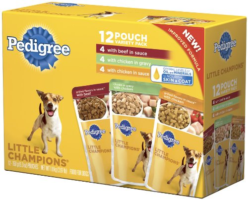 Pedigree Little Champions Grilled Flavors Variety Pack Food for Dogs, 5.3-Ounce Pouches (Pack of 48)