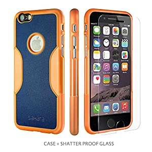 Premium iPhone 6 Sahara Case® + Tempered Glass Screen Protector for iPhone 6 4.7 inch - Blazing Sun - Orange & Blue - Retail Packing