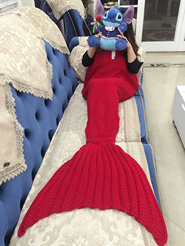 SMELOV Mermaid Tail Blanket and Handmade Crochet Sleeping Blanket,Super Soft All Seasons Sleeping Bags,Best Thanksgiving&Christmas Gift for Adult Kids,71