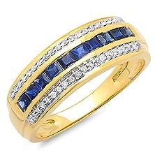 buy 10K Yellow Gold Princess Cut Blue Sapphire & Round White Diamond Ladies Anniversary Band (Size 7)