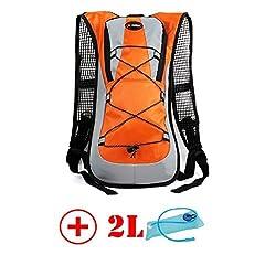 HMLifestyle Hydration packs for hiking hydration backpack Bladder Bag with 2L bladder Water Bag Lightweight Durable Orrange + 2L bladder