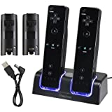 Insten Dual Charging Station w/ 2 Rechargeable Batteries & LED Light Compatible with Wii Remote Control, Black