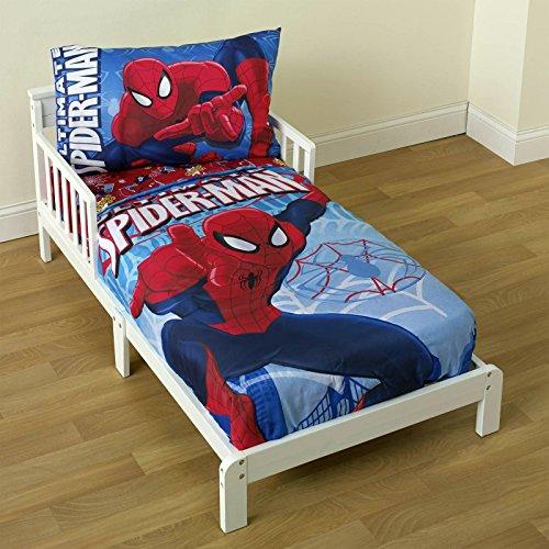 Spiderman Bedding Set Toddler 4 Piece Comforter Sheet Set Kids Bedroom