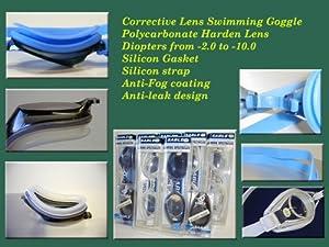 Corrective Nearsighted Swimming Goggles, smoke-4.0
