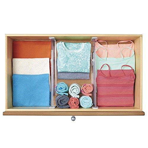 Séparateur de tiroirs réglables mDesign pour commode, cuisine, tiroirs autres (Lot de 2) - Transparent