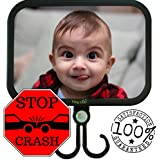 New Generation - Tiny Leaf Baby Back Mirror Shatterproof and Adjustable Clearest Infant Reflection in Back Seat of Car 2x Bonus Hook and eBook 100% Satisfaction Guaranteed Ultra Strong Dual Safety Strap System
