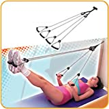 Door Mounted Exercise Pulley Rope, Multi-use Arm, Shoulder, Abdomin, Thigh and Leg Exercise Pulley Rope Equipment Set, Two Pulleys and Four Handles