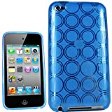 IGadgitz Circle Blue Durable Crystal Gel Skin Case Cover (Thermoplastic Polyurethane TPU) for Apple iPod Touch 4th Generation 8gb, 32gb, 64gb + Screen Protector