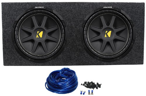 "Package: (2) Kicker 10C12D4 12"" Comp 600 Watt Dual 4-Ohm Car Audio Subwoofers + Rockville Rd12 Dual 12"" 1.25 Cu.Ft. Sealed Subwoofer Enclosure + Dual Enclosure Wire Kit With 14 Gauge Speaker Wire + Screws + Spade Terminals"