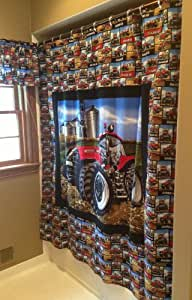 Case ih tractor shower curtain home kitchen for International harvester room decor