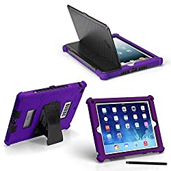 iPad Air 2 Slim Tough Case G5 - Rugged Protection with Built-in Hard Cover and Stylus (Purple)