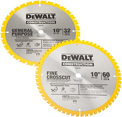 DEWALT DW3106P5 60-Tooth Crosscutting and 32-Tooth General Purpose 10-Inch Saw Blade Combo Pack by DEWALT