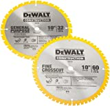 DEWALT DW3106P5 2 Blade 10-Inch 60-Tooth Crosscutting Saw Blade and 10-Inch 32-Tooth General Objective Saw Blade Combo Pack