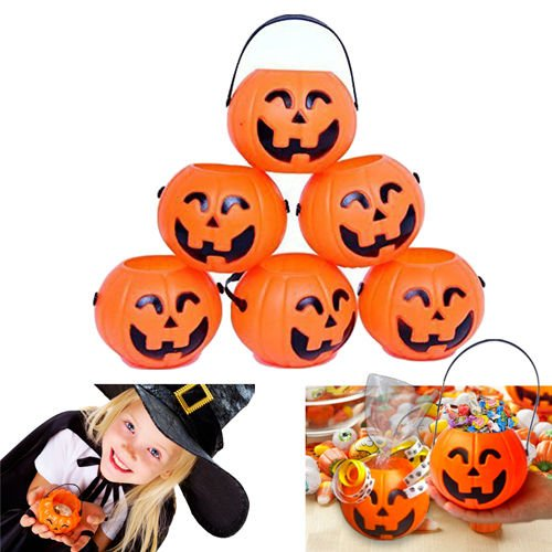 [Dazzling Toys Pumpkin Candy Holder 12 Mini Trick-or-treat Halloween Candy Bucket] (Tin Foil Robot Costume)