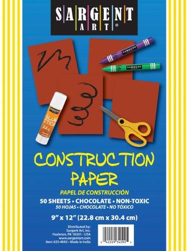 Sargent Art 23-4092 50-Count Chocolate Construction Paper - 1