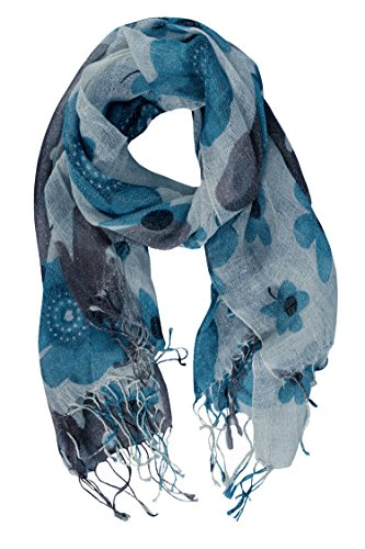 Peach-Couture-Summer-Scarf-Long-Scarf-Fringe-Scarf-Light-Weigt-Scarf-Floral-Scarf-Shimmering-Scarf-Blue
