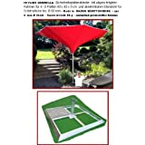 SKYLINE UMBRELLA - KURBEL - SONNENSCHIRM - 350 cm Ø - mit SICHERHEITS PLATTENSTÄNDER für Platten 40 x 40 x 5 cm mit SCHRÄGRAHMEN ohne PLATTEN und mit KURBEL abnehmbar - ZANGENBERG - GERMANY - RUND - 350 cm - 8 teilig - Farbe : ROT - Holly ® Produkte STABIELO ® - holly-sunshade ®