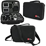 DURAGADGET GoPro HERO4 / HERO3+ / HERO3 / HERO Case - Black Armoured Protective Storage Case / Bag with Shock-Absorbing Foam, Custom-designed for GoPro Headcams including GoPro HERO3 AHDBT-301 - (Black, Silver and White Editions), HERO3+ CHDHX-302 / CHDHN-302, Hero 2, Hero 1, HD Hero 960 Cameras + BONUS Car Charger Inside the Case!