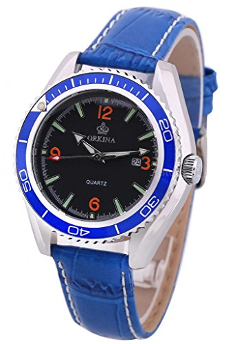 Orkina Hot Deals Date Calendar Analog Leather Men Sport Wrist Quartz Watch-Blue Design