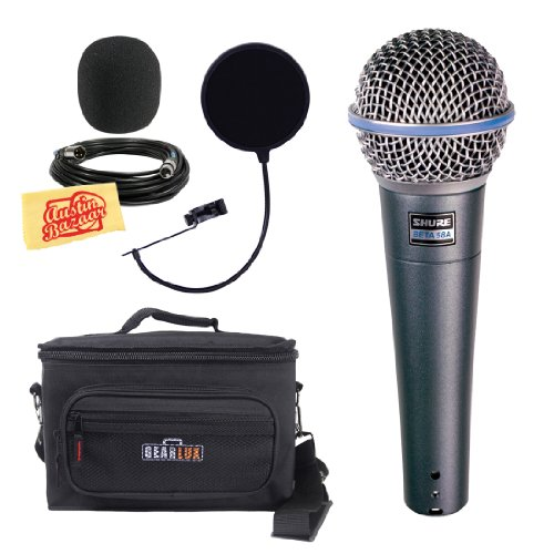 Shure Beta 58A Supercardioid Dynamic Microphone Bundle With Gear Bag, Pop Filter, Xlr Cable, Mic Clip, Windscreen, And Polishing Cloth