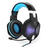 Marsboy Gaming Headset Kopfhörer USB/Klinken-Stecker Mikrofon LED Effekt für PC Film Gaming Spielen Chat Musik Blau.