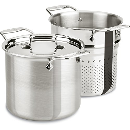 All-Clad BD55807 D5 Brushed 18/10 Stainless Steel 5-Ply Bonded Dishwasher Safe Pasta Pentola Stockpot with Lid Cookware, 7-Quart, Silver (Pasta All Clad compare prices)