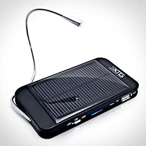 XTG Solar Charger, Compact Solar Powered Back Up Battery (1500mAh, 1A USB Port) for iPhone, Samsung Galaxy & USB Devices. Great for Hiking & Adventure. Includes LED Reading Light and Window/Windshield Suction Cups