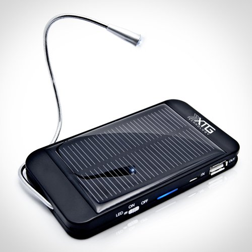 Premium Solar Charger - Ultra Thin Solar Powered Backup Battery And Charger For Cell Phones, Iphone, Ipod, And Most Usb Powered Device - Also Includes Built-In Led Reading Light And Window / Windshield Suction Cups