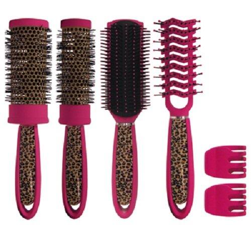 Scalpmaster 6 Piece Leopard Brush Kit, Pink