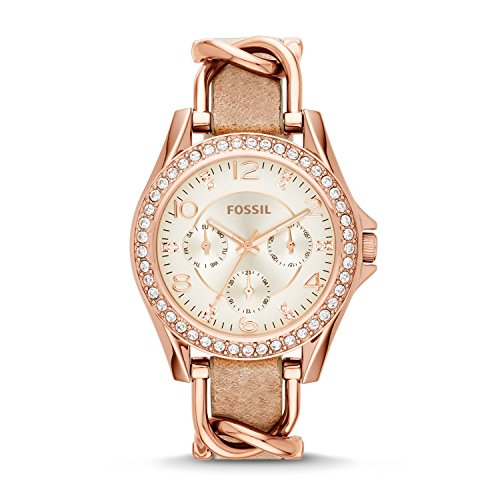 fossil-womens-es3466-riley-rose-gold-tone-stainless-steel-and-leather-watch-with-crystal-accents