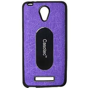 Casotec Metal Back TPU Back Case Cover for Karbonn Titanium Mach Five - Purple