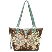American West Ponderosa Multi Compartment Shoulder Bag,Cream/Brown/Turq,One Size