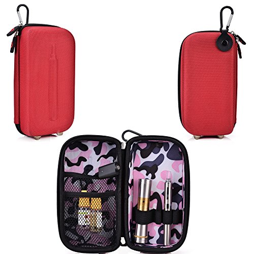 Travel Vape Case-Universal Design In A Red Compatible With Atmos Raw Jr Portable Vaporizer Vape Pen