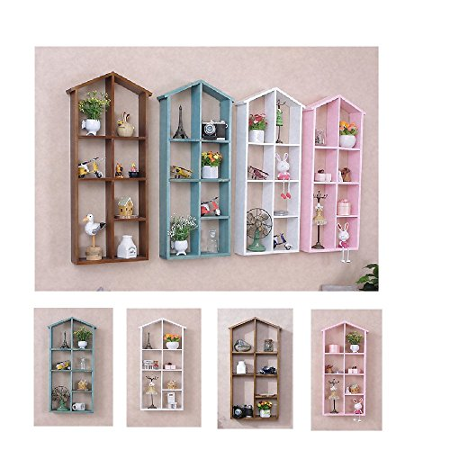 V-Style(ブイスタイル) ウォールラック 飾り棚 家デザイン グリーン フォトフレーム おしゃれ インテリア (ブルー)