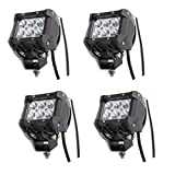 Rolinger (Pack of 4Pcs) 4Inch High Power 18w CREE LED Work Light Bar Spot Beam 30 Degree 1440Lm Offroad Lamp for SUV Boat 4x4 4wd Jeep Lamp 3WD ATV F