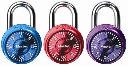 Master Lock 1533TRI Mini Combination Locks in Blue, Purple, and Pink, 3-Pack