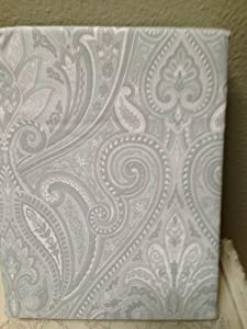 Bella Lux Fine Linens Paisley Shower Curtain In Light Grey Pale Blue White