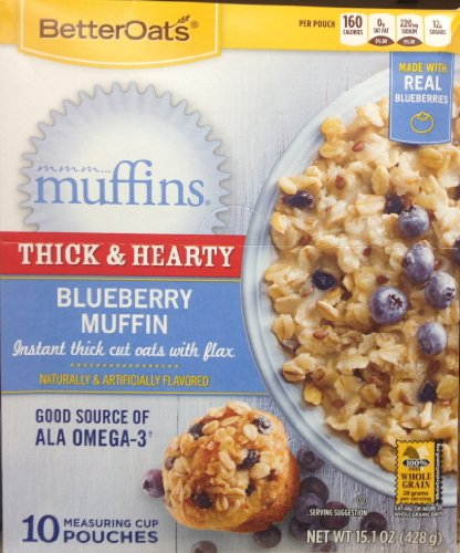 Better Oats BLUEBERRY MUFFIN Instant Oatmeal 15.1oz (5 Pack)