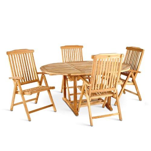SAM® Teak Holz Gartengruppe Gartenmöbel 5tlg, 1 x Auszugstisch Borneo + 4 x Klappstuhl Aruba online bestellen